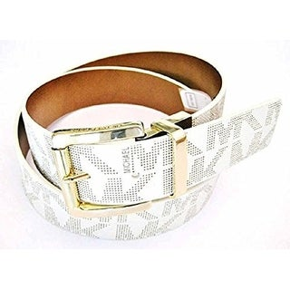 Michael Kors MK Logo Signature Monogram Twist Reversibe Belt, Vanilla To Brown 553119C