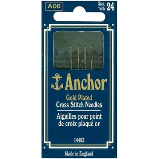 Anchor Gold-Plated Cross Stitch Needles-Size 24 4/Pkg - GOLD