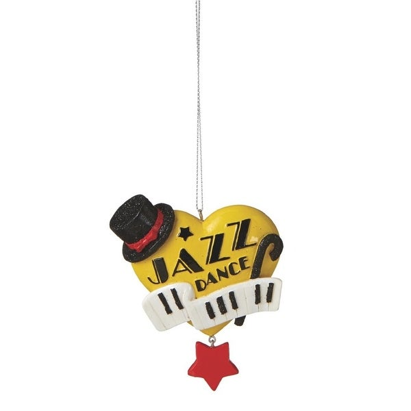 "3.5"" Yellow Jazz Dance Heart Shaped Christmas Ornament"