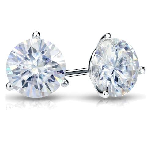 Auriya Platinum 1 1/2ctw Round Moissanite Stud Earrings Martini-set - 5.9 mm, Screw-Backs