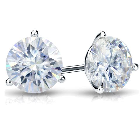 Auriya 2ct TGW Round Moissanite Stud Earrings Platinum 3-Prong - 6.5 mm, Push-Back - 6.5 mm, Push-Back