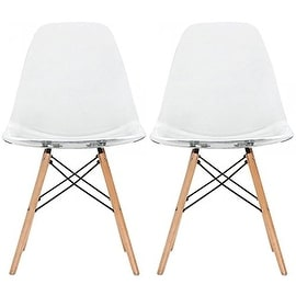 "2xhome - Set of Two (2) - Clear - New Seat Height 18.5"" Eames Style Side Chair Natural Wood Legs Eiffel Dining Room Chair"