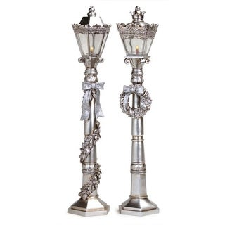 """2 Victorian Inspirations Battery Operated LED Lighted Silver Lamp Posts 24"""""""
