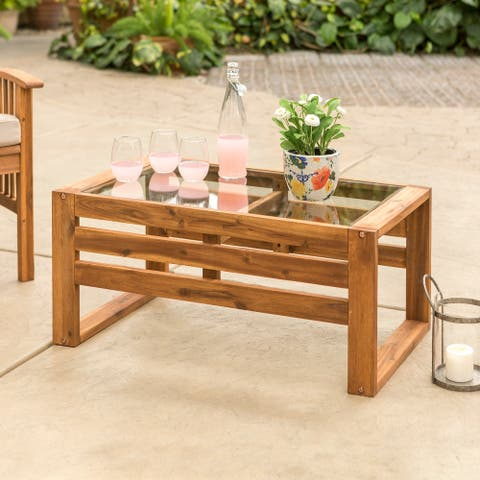 Hudson Brown Acacia Outdoor Coffee Table with Glass Top