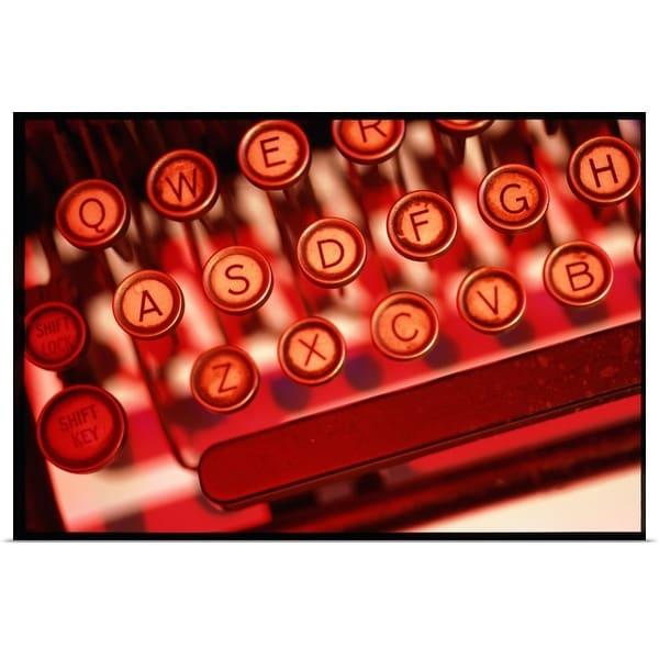 """""""Keyboard of antique typewriter, close-up"""" Poster Print"""