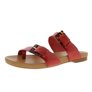 Johnston & Murphy Womens Jill Leather Buckle Flat Sandals - 6 medium (b,m)