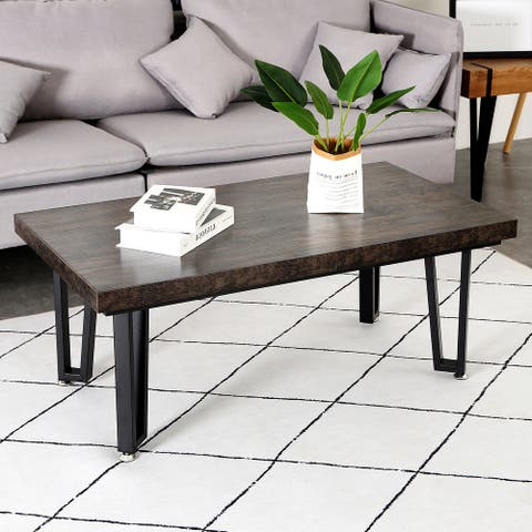 Industrial Unique Rectangular Coffee Table for Living Room - Bronze
