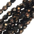 Czech Fire Polished Glass Beads 6mm Round Metallic Gold/Topaz (25) - Thumbnail 0