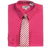 Fuchsia Button Up Dress Shirt Gray Striped Tie Set Toddler Boys 2T-4T