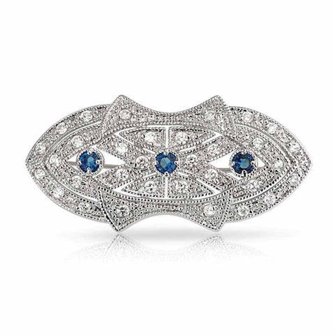 Bling Jewelry Art Deco Style Blue CZ Brooch Rhodium Plated
