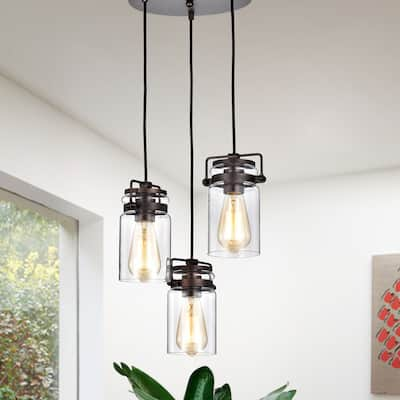 Oil Rubbed Bronze 3-Light Multi Light Adjustable Pendant with Clear Glass Sconce - Oil Rubbed Bronze