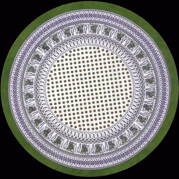 "Handmade 100% Cotton Elephant Mandala Floral Print 60"" Round Tablecloth Olive Green Purple & Azure Blue Green"