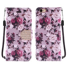 Insten Roses Leather Case Cover Lanyard with Stand/ Diamond For Apple iPhone 6/ 6s