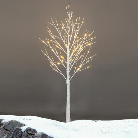 Pre Lit White Birch Tree Christmas Holiday Party Decorations Starlit Tree for Indoor Outdoor Use