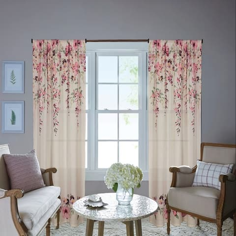 Waldron Floral Room Darkening Rod Pocket Single Curtain Panel,