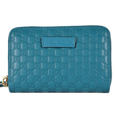 """Gucci 544249 Cobalt Teal Leather GG Guccissima Zip Around Card Case Wallet - 5"""" x 3 3/8"""""""