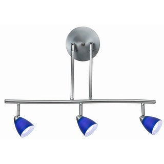 Link to 3 Light 120V Metal Track Light Fixture with Glass Shade, Silver and Blue Similar Items in Salt Lamps