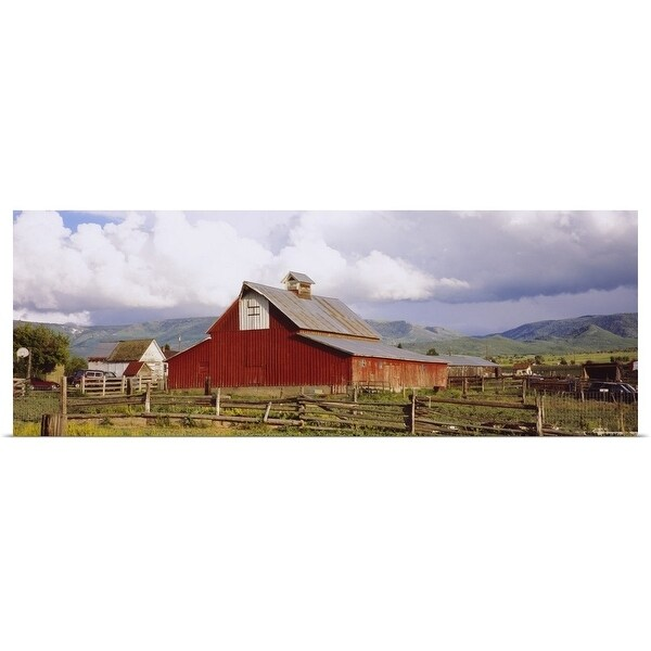 Poster Print entitled Fence surrounding a barn, historical barn, Collbran, Colorado - Multi-color