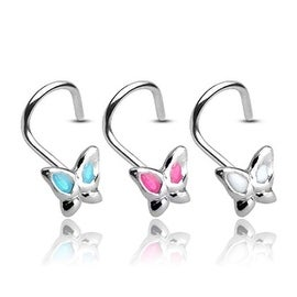 20 GA .925 Sterling Silver Nose Screw with 3mm Gemmed Butterfly (Sold Ind.)