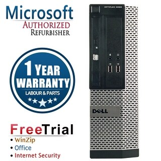 Refurbished Dell OptiPlex 390 SFF Intel Core I3 2100 3.1G 4G DDR3 500G DVD Win 10 Pro 1 Year Warranty - Black