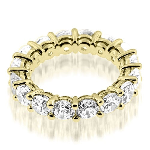 3.50 cttw. 14K Yellow Gold Classic Basket Round Cut Diamond Eternity Band Ring