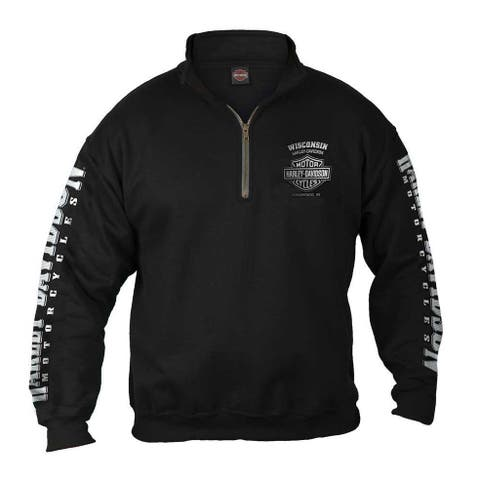 25b1afbd Harley-Davidson Men's Lightning Crest 1/4 Zip Cadet Pullover Sweatshirt, ...