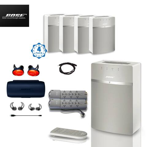 4x Bose SoundTouch 10 (White) + FREE SoundSports + 3 pc Acc Bundle