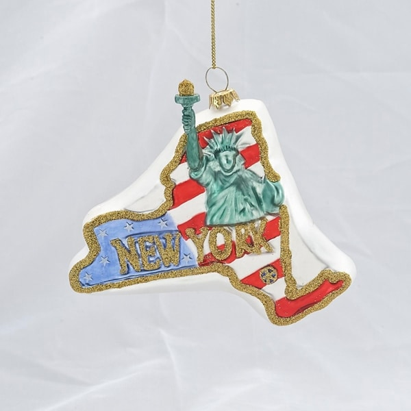 """4.25"""" Glass """"New York"""" State with Statue of Liberty Christmas Ornament - RED"""