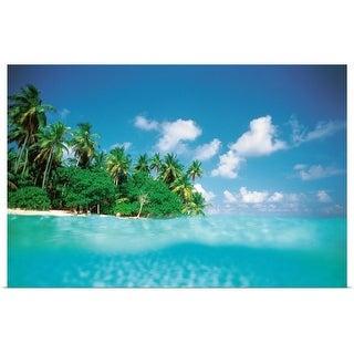 """Palm trees on beach"" Poster Print"