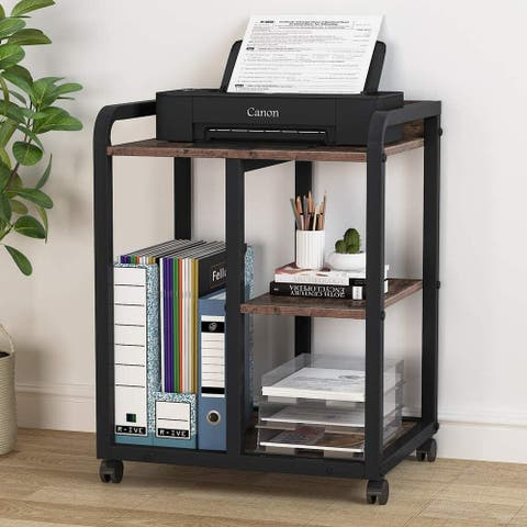 3-Shelf Mobile Printer Stand with Storage Shelves, Rolling Printer Cart Machine Stand