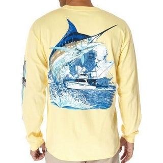 Guy Harvey Marlin Boat Yellow LS 2XLarge