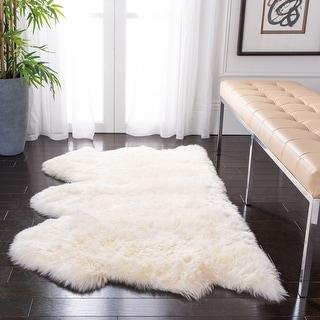 Link to Safavieh Handmade Natural Sheepskin Leanca Shag Solid Rug Similar Items in Shag Rugs