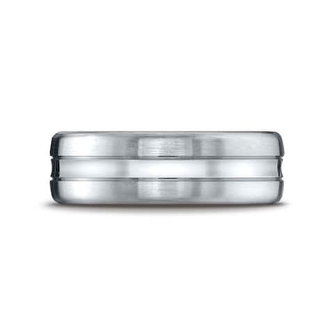 Platinum 7.5mm Comfort-fit Satin-finished High Polished Center Cut Carved Design Band