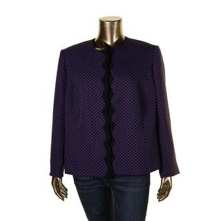 Tahari Womens Plus Casual Blazer Jacquard Polka Dot - 22W