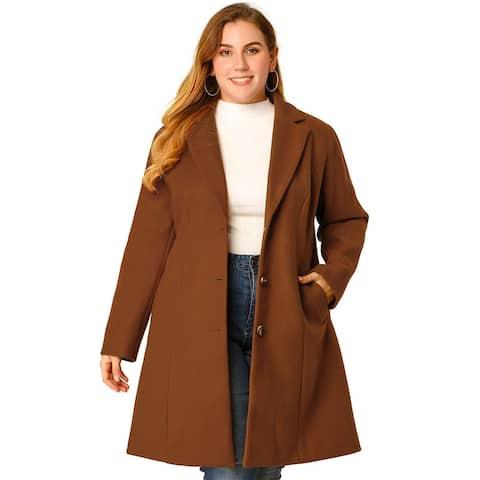 Women's Plus Size Winter Elegant Notched Lapel Coat - Brown