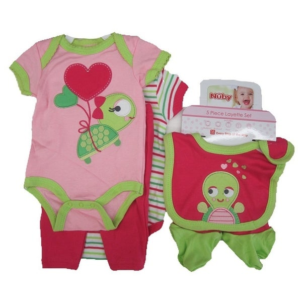 Buster Brown Baby Girls Pink Turtle Striped Bodysuit 5 Pc Layette Set 0-9M