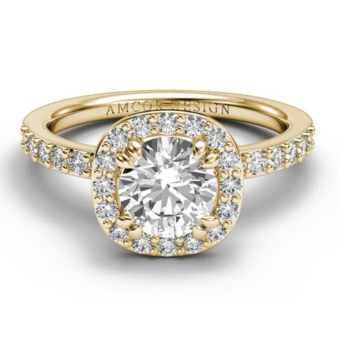 14KT Gold 1.45 CT Halo Diamond Engagement Ring Round Cut