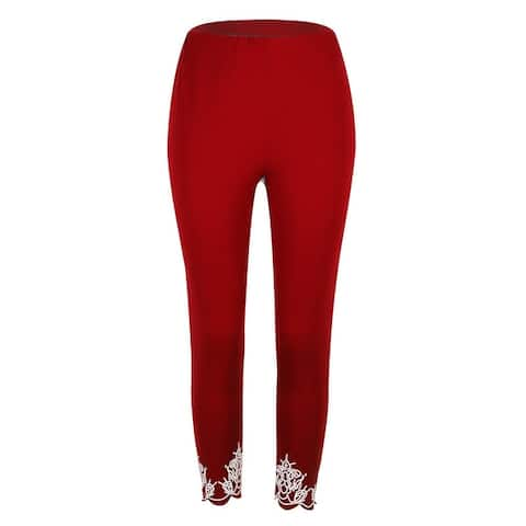 Printed Cuff Cropped Legging Pants, Mult Colors, S-5X