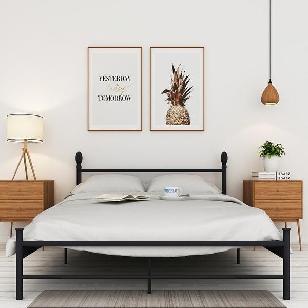 VECELO Full-size Platform Bed Frame, Metal Mattress ...