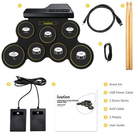 Ivation Portable Electronic Drum Pad - 7 Labeled Pads 2 Foot Pedals Kids Children Beginners - Large