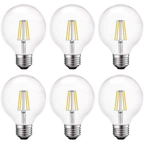 Luxrite Vintage G25 LED Globe Light Bulbs 60W Equivalent, 550 Lumens, Dimmable, Clear Glass, E26 Standard Base (6 Pack)