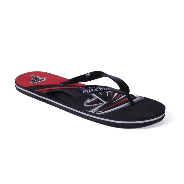 Happy Feet Mens and Womens Atlanta Falcons Big Logo Flip Flop - atlanta falcons big logo