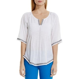 Two by Vince Camuto Womens Peasant Top Gauze Pintuck
