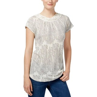 Lucky Brand Womens Casual Top Printed Short Sleeves