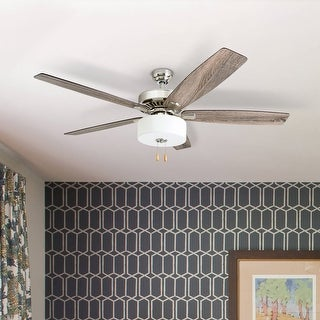 Link to Porch & Den Mead Brushed Nickel 60-inch LED Reversible Blade Ceiling Fan w/ Pull-chains - 60 Similar Items in Ceiling Fans