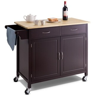 Costway Modern Rolling Kitchen Cart Island Wood Top Storage Trolley Cabinet Utility New - as pic