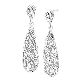 Crystaluxe Swirl Drop Earrings with Swarovski Crystals in Sterling Silver - White