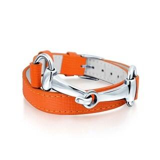 Bling Jewelry Orange Synthetic Leather Horses Bit Bracelet Rhodium Plated