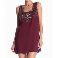 Angie Red Womens Size Medium M Embellished Chiffon Shift Dress
