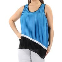 NY COLLECTION Womens Blue Black Pleated Sleeveless Scoop Neck Top  Size: XL
